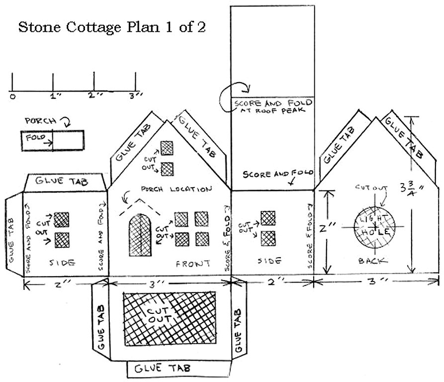 Building a vintage style cardboard stone cottage for House plan printing