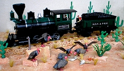 This photo shows a battery-powered train on Hans-Werner Lienau's desert diorama. Click for bigger photo.