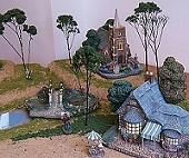 This photo shows three of the scenery ideas on our primer pages combined. Click to see the Portable Indoor Display article.